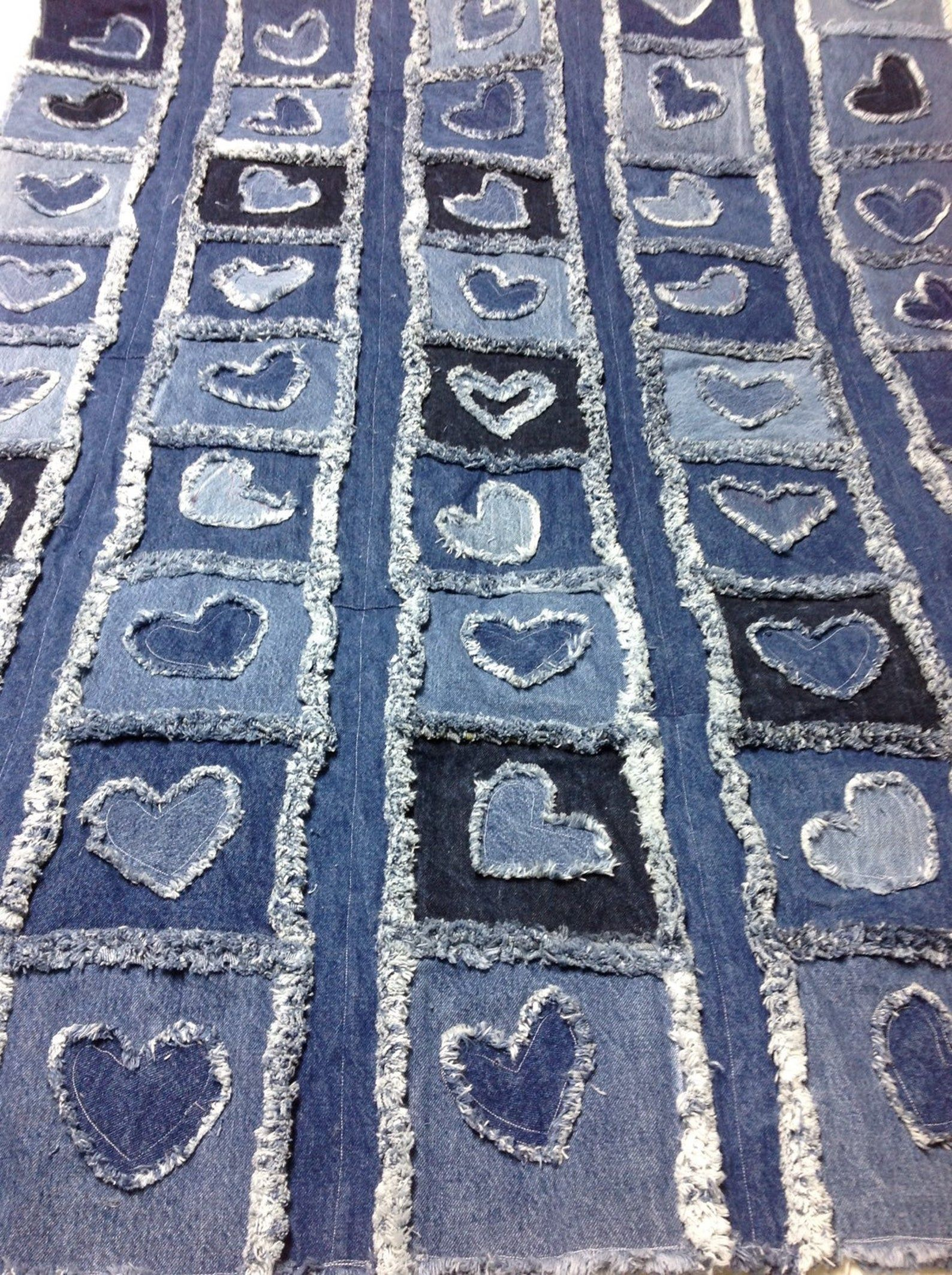 Photo of I Give You My Heart Rag Blanket with Denim Lining