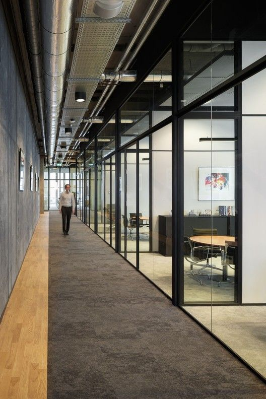 Industrial office features exposed bricks  concrete ceilings vintage decor home interiors modern also rh pinterest
