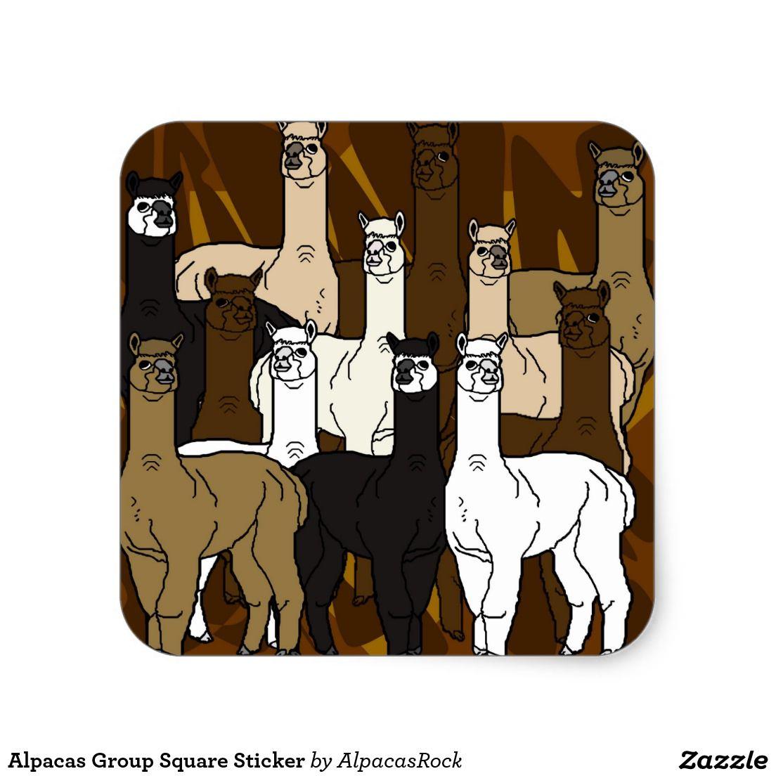 Alpacas group square sticker