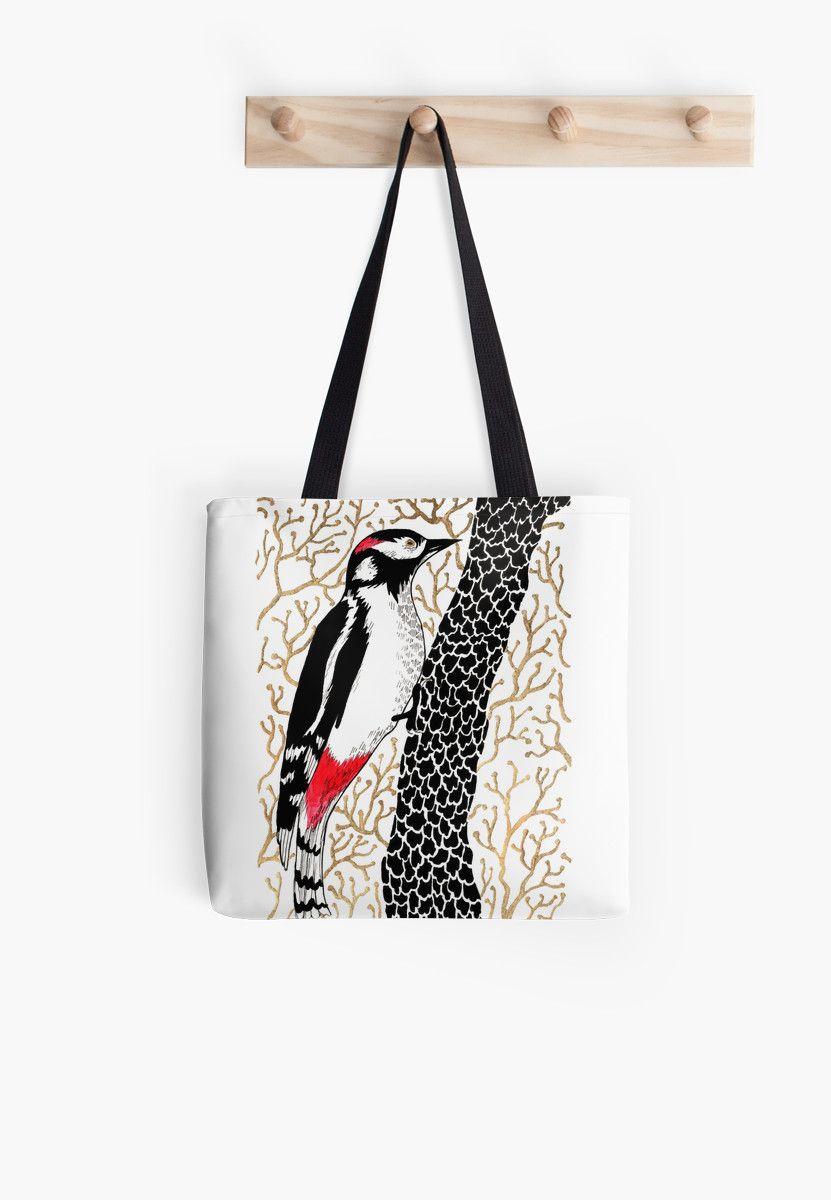 Woodpecker, forest bird, watercolor & ink sketch by ptitsa-tsatsa