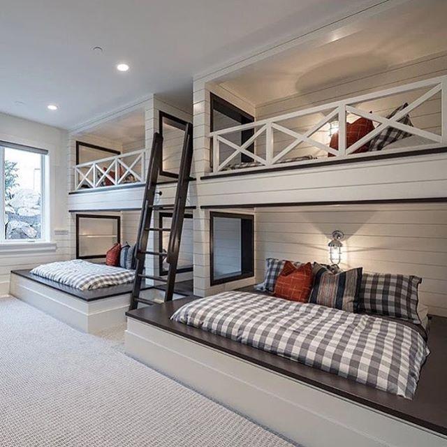 "Jessica on Instagram: ""Bunk room love.  Image found on Pinterest #bunkrooms #lakehouse #lakelife"""