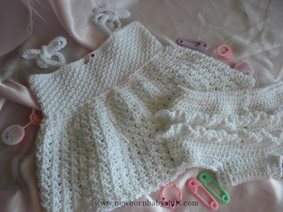 Crochet Baby Dress White Crocheted Baby Girl Sundress/Beach Dress ...