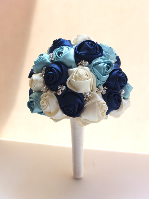Handmade Ribbon Rose Bouquet- Navy, Tiffany Blue & Ivory Flower accented with rhinestone (Large, 8-9 inch)