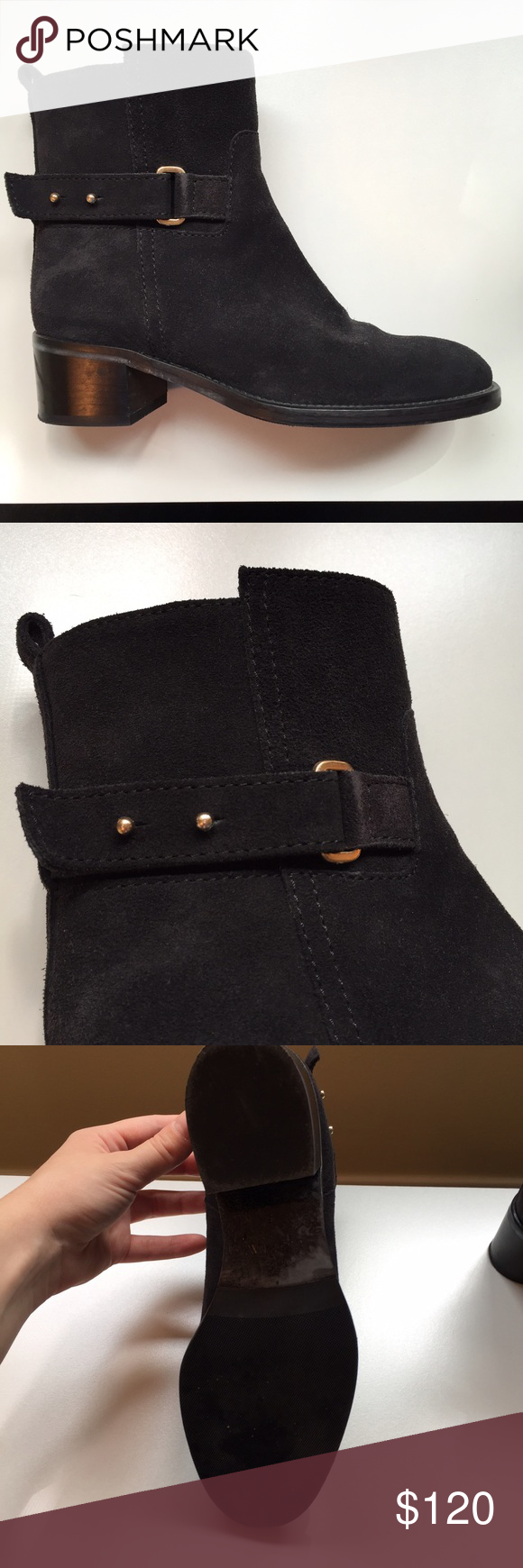J.Crew Black Suede Boots Beautiful suede J.Crew boots. The perfect pair for fall, look great with jeans or dresses and cozy sweaters. Worn twice, no wear on upper, light wear on soles. I will accept reasonable offers through the offer feature, no trades or lowballs! J. Crew Shoes Combat & Moto Boots