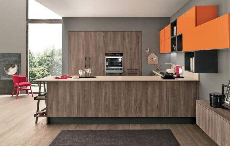 diseño de cocina con muebles laminados y de color naranja | Cocinas ...