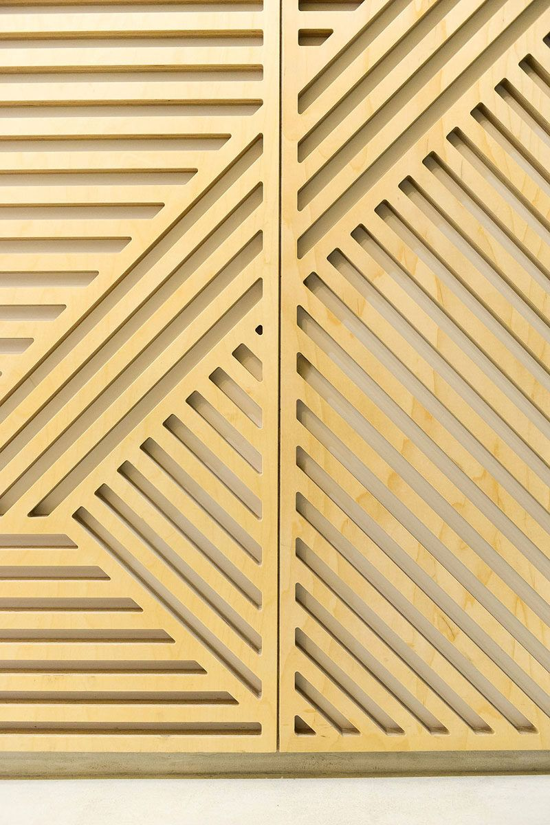 Wall Decor Idea This Restaurant Covered Its Walls With Wood Panels That Look Like Abstract Line Art Wooden Wall Panels Wooden Wall Decor Restaurant Exterior Design