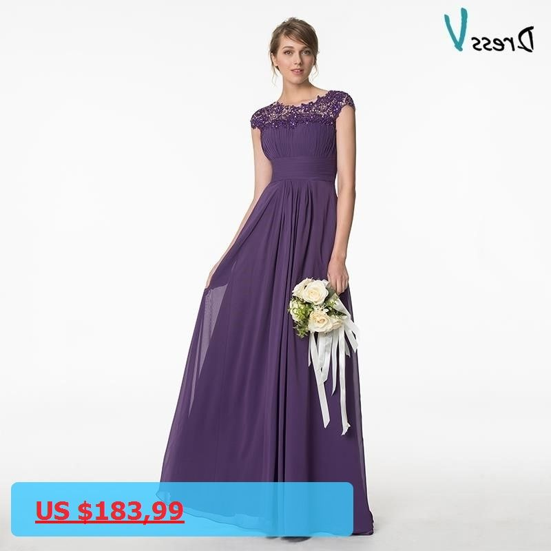 Dressv Purple Long Scoop Neck Bridesmaid Dress Cap Sleeves A-line ...