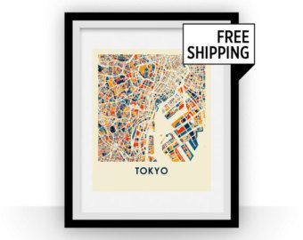 Tokyo map print full color map poster affiches et posters tokyo map print full color map poster gumiabroncs Choice Image