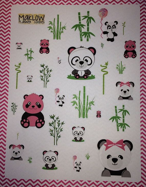 Pink Panda stickers for Erin Condren, Plum Planner, Kikki K, Filofax, and more planners.