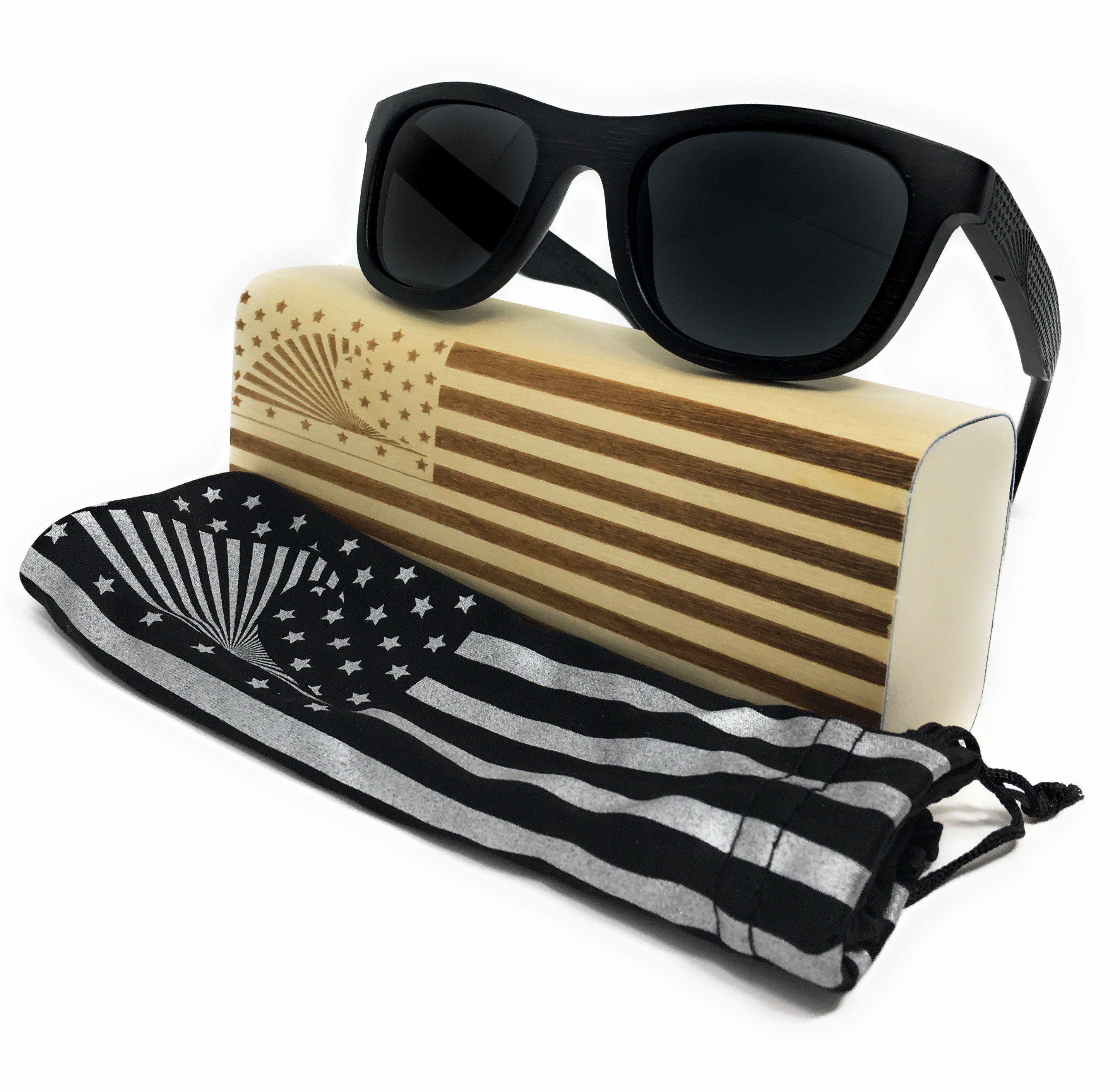 00480ee1a2 Patriot Shades Polarized   Floating Bamboo Size Large Wayfarer Sunglasses