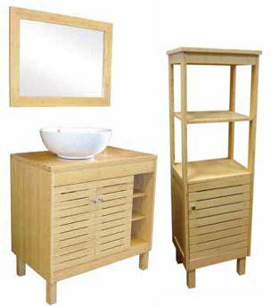 meuble salle de bain en bambou