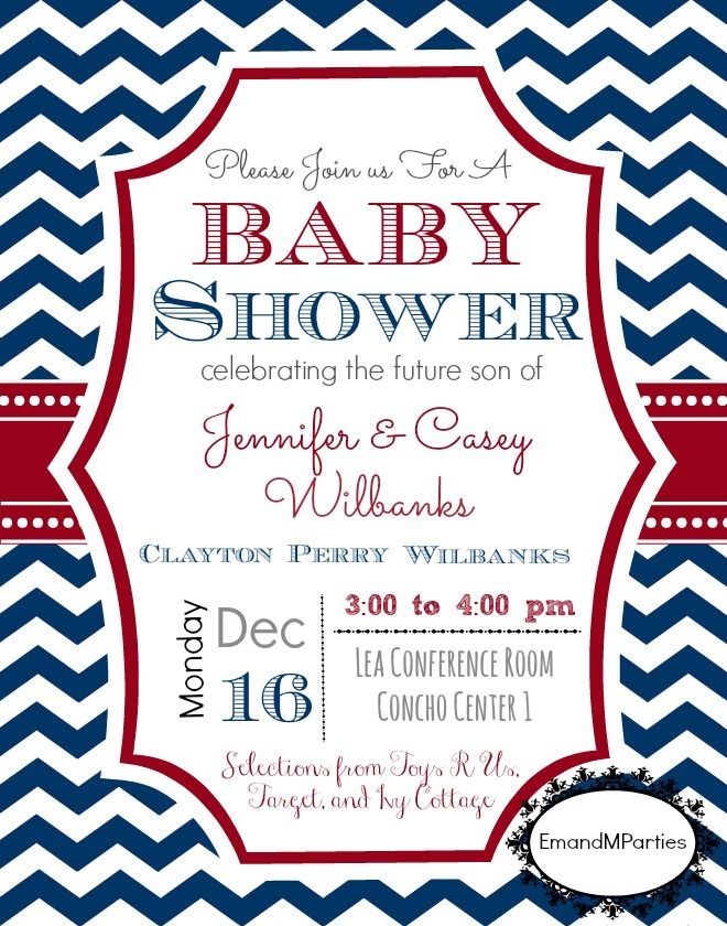 Red, white and blue nautical themed baby shower invite. Red and blue ...