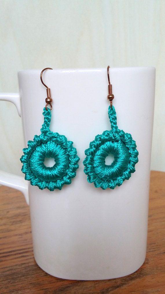 Crochet  Earrings Teal Aqua Color Earrings Small by knittee