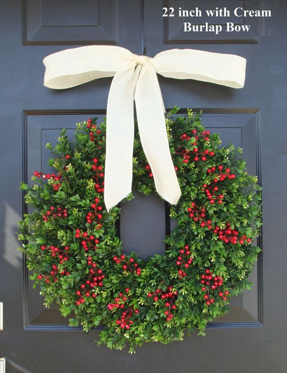 THIN Boxwood Red Berries Christmas Wreath- Holiday Wreaths- Winter