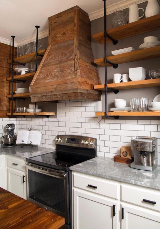 this type of open shelving for sink side of kitchen rustic kitchen cabinets farmhouse on farmhouse kitchen open shelves id=96935