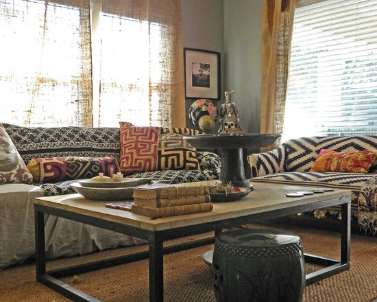 appealing eclectic living room with rustic burlap curtain ideas also huge windows with white blind