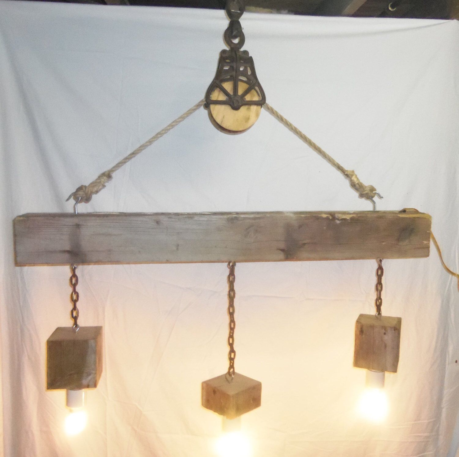 Reclaimed Barn Beam and Pulley 3 Light Chandelier by