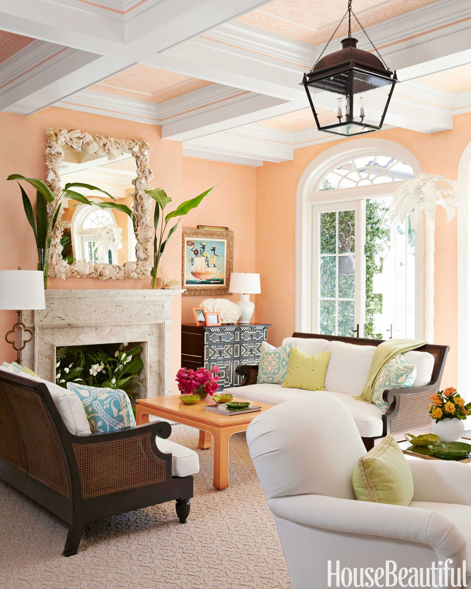 A Colorful And Whimsical Palm Beach House Living Room Wall Color