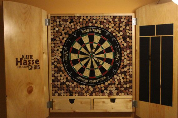 Dart Board Cabinet with Wine Corks by JohnCanMakeIt on ...