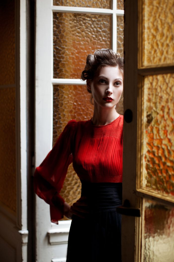 Classic fashion + red blouse + shot in Paris