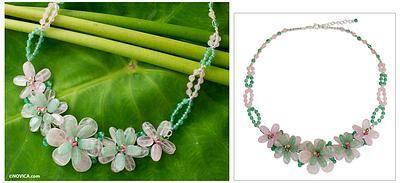 Rose quartz and aventurine flower necklace, 'Spring Floral' - Rose Quartz and Aventurine Floral Necklace