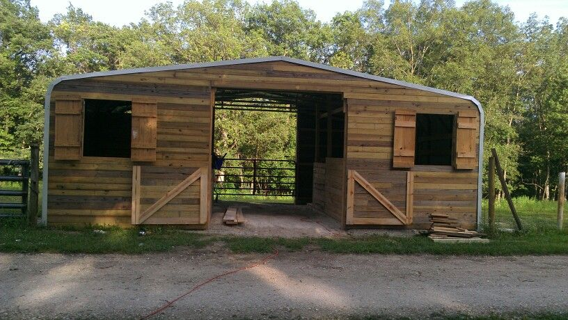 30x20 Carport Turned Into 2stall With Tack Room And A 10x10 Hay Stall Horse Barn Horse Shelter Horse Barns Goat Barn