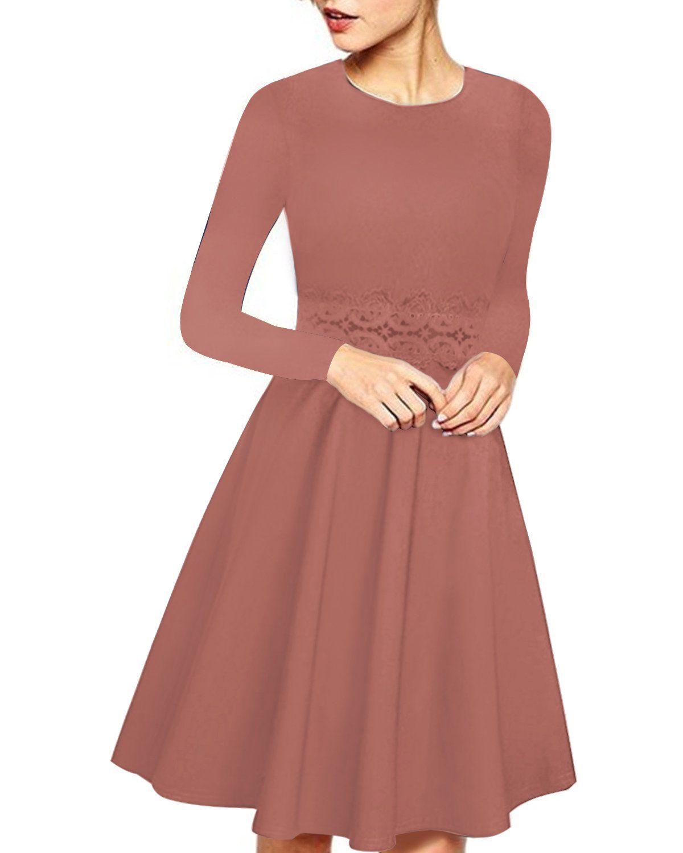 Women Elegant Long Sleeve Lace Patchwork Midi A Line Dress