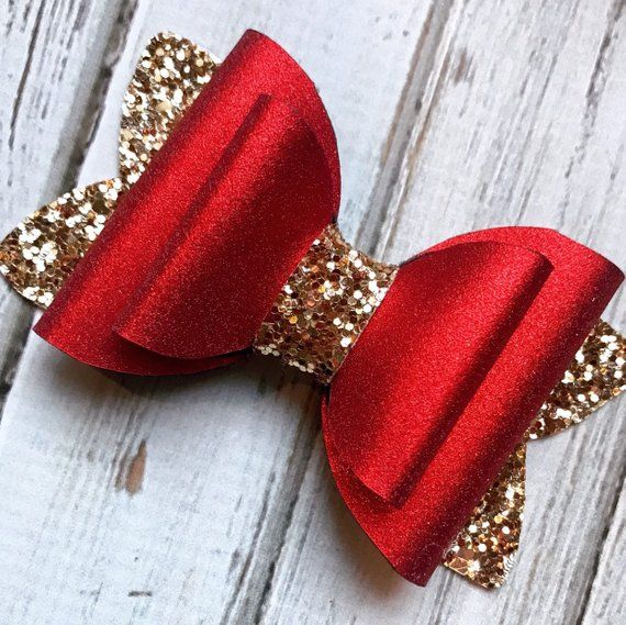 Red and Gold Glitter Bow Hair Clip, Girls Hair Clip, Glamour Hair Bow, Christmas Hair Bow, Valentines Hair Clip, Hair Bow, Photo Prop #hairclips
