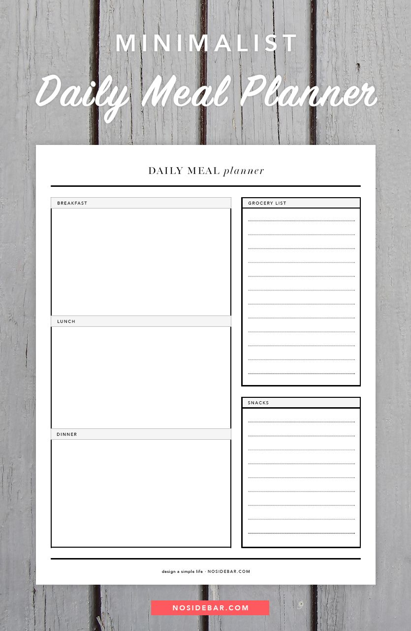Minimalist Daily Meal Planner Printable With Images Daily Meal