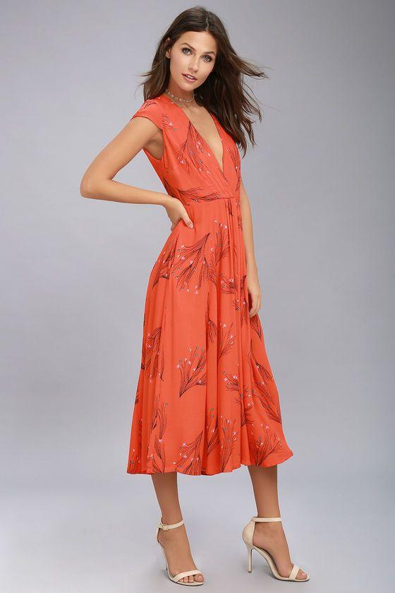 Black and orange floral dress