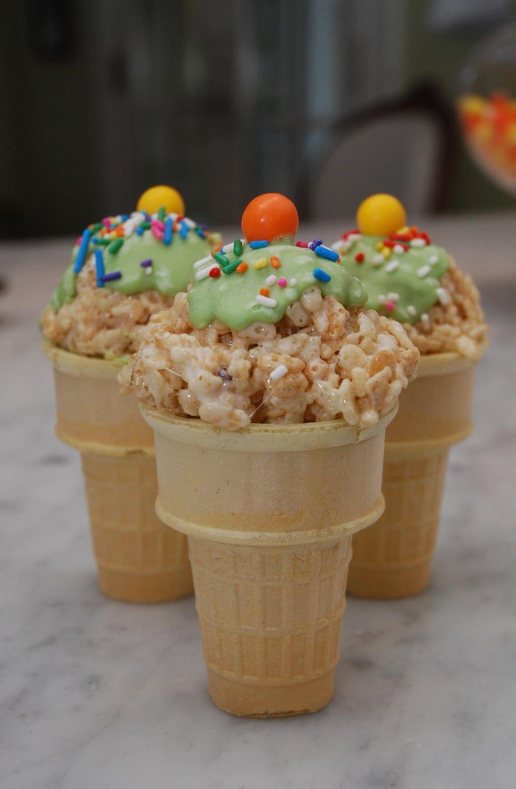 caramel rice krispies cones