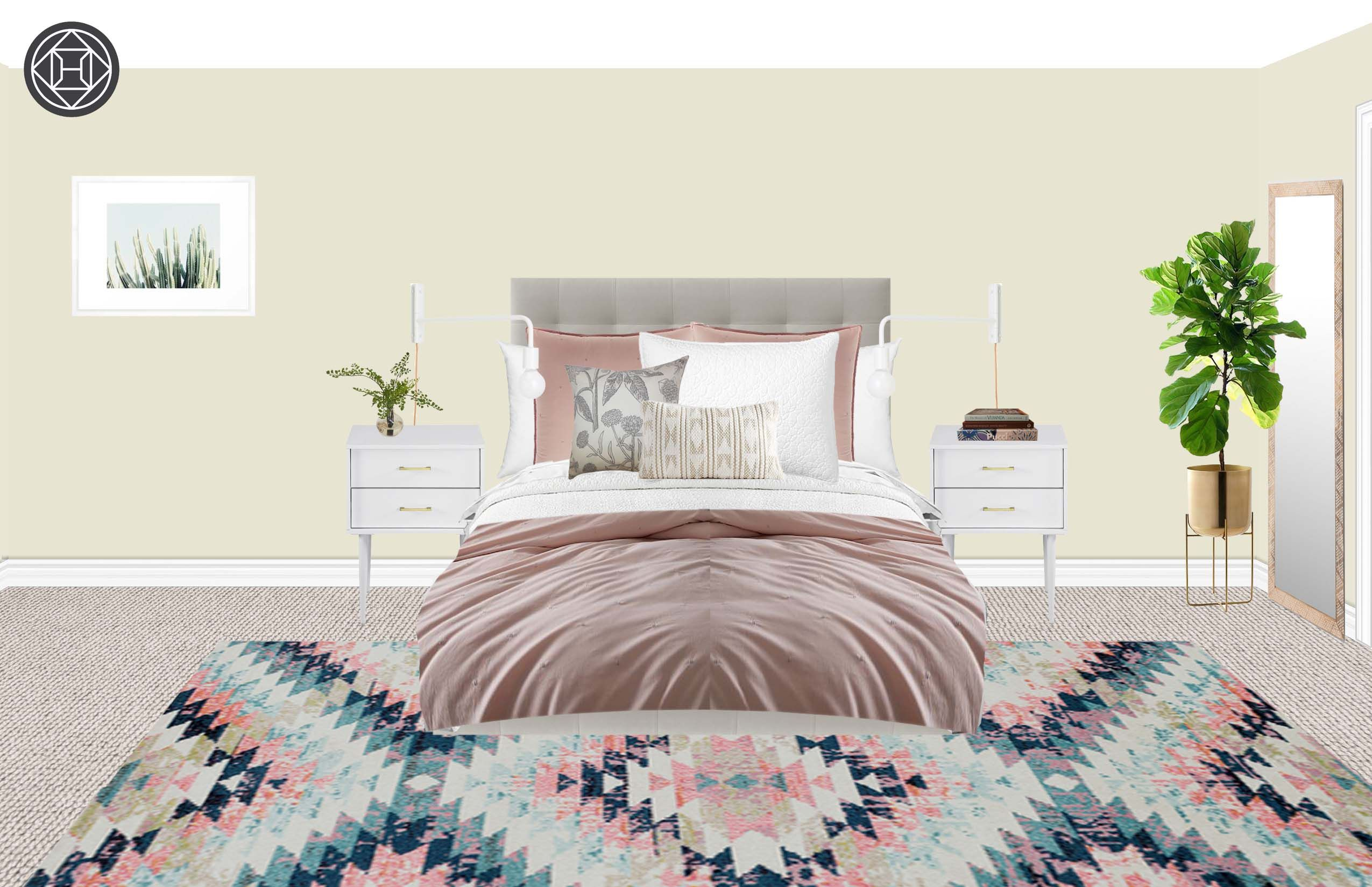 Modern, Glam, Industrial Bedroom Design by Havenly