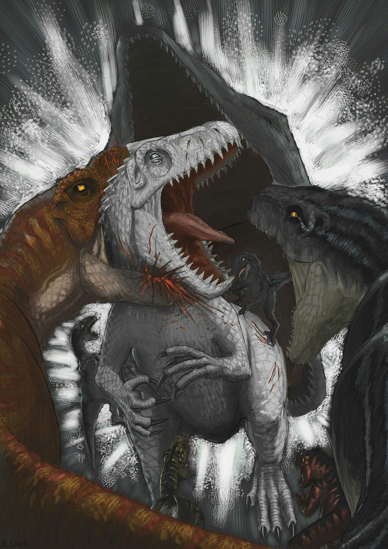 Jurassic World ~ T-Rex, raptor (blue), Indominus Rex and a mosasaur ...