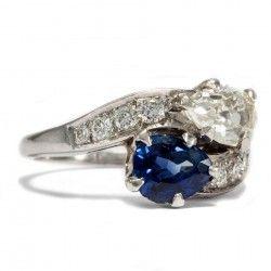 Atemberaubender ART DÉCO Saphir, PLATIN & DIAMANT RING Diamanten Toi & Moi 1925