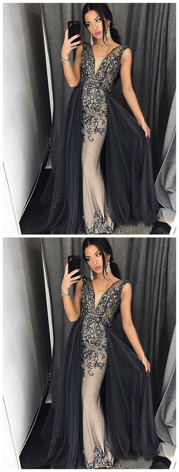 Trumpetmermaid straps black prom dress sparkly prom dresses long