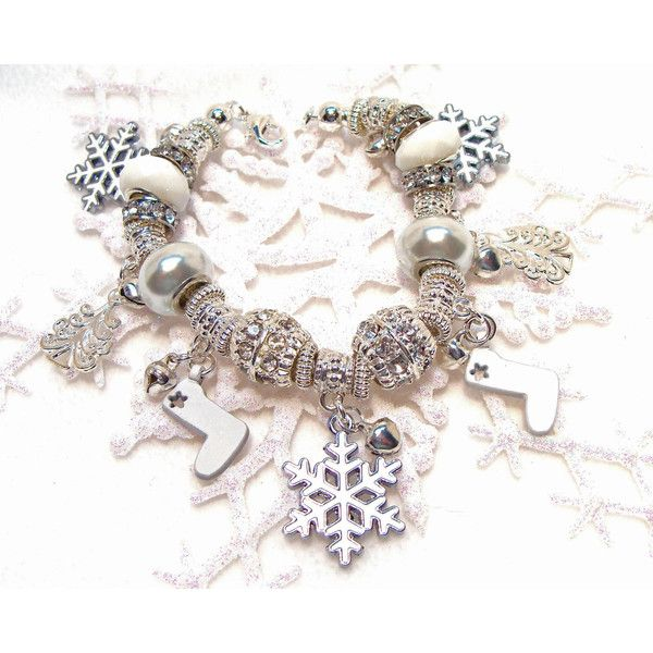 Winter Wonderland European Style Charm Bracelet with... ($46) ❤ liked on Polyvore featuring jewelry and bracelets