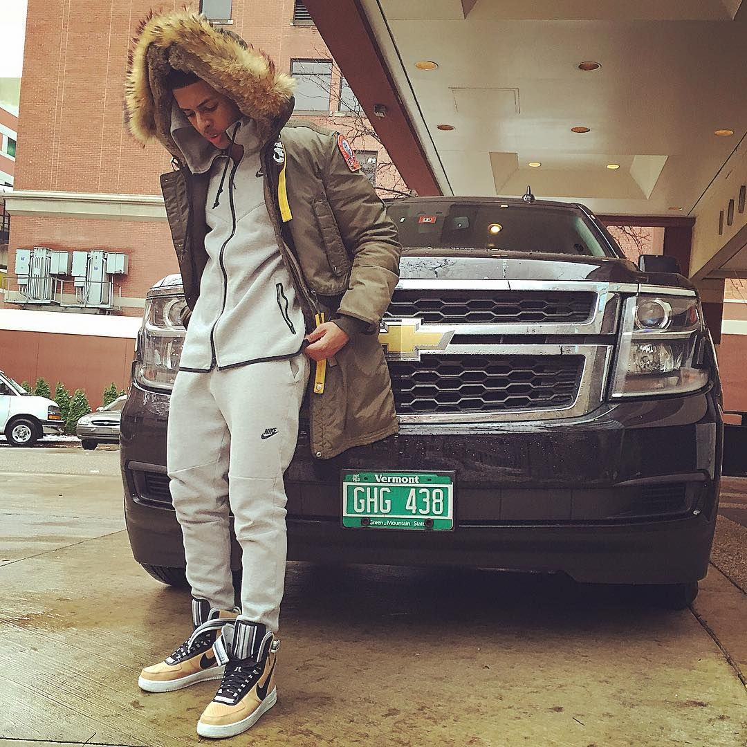 Diggy Simmons wearing the 'Beige' Nike Air Force 1 High RT