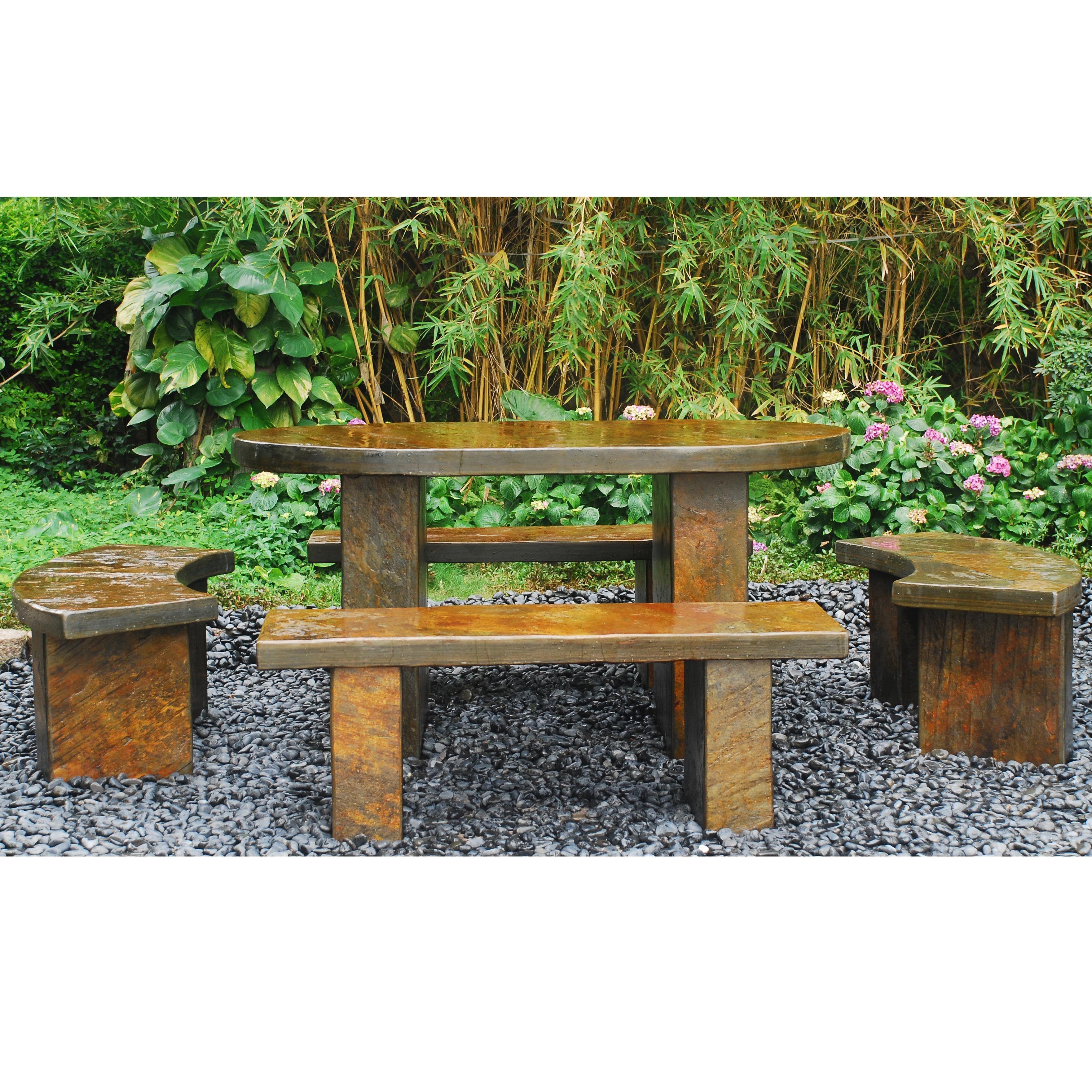 Japanese Garden Furniture. Aqaril Slate Table Set Japanese Garden Furniture  B