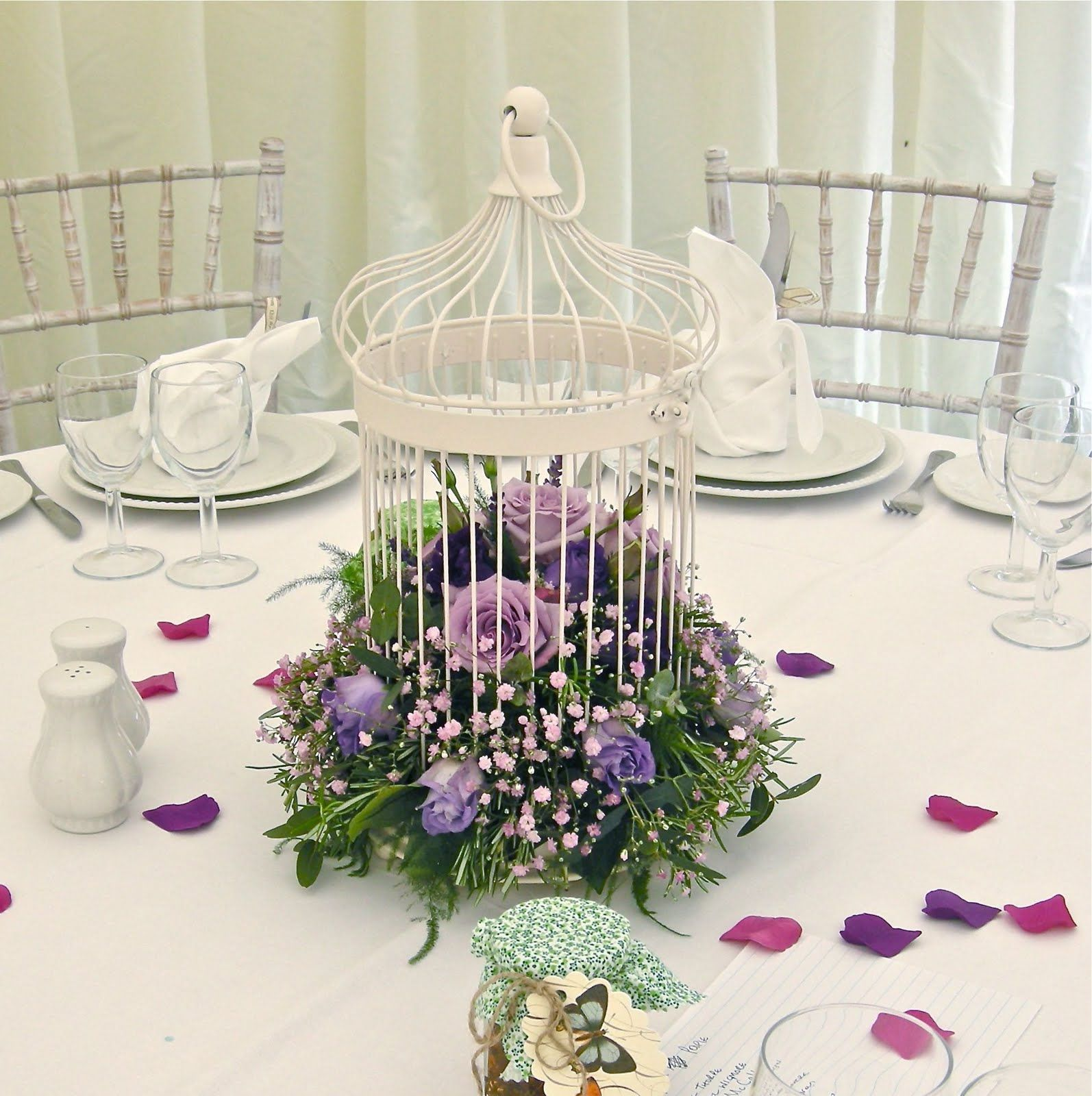 Vintage bird cage table centre pieces made with silk flowers | 50th ...