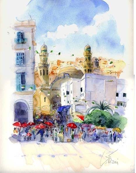 Alger Mosquee Ketchaoua Et Place Des Martyrs Peinture C 2008