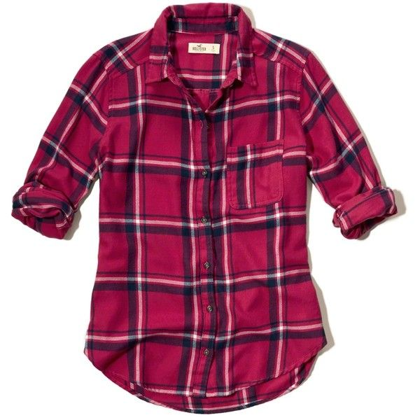 Hollister Button Front Plaid Shirt 29 Liked On Polyvore Featuring Tops Med Pink Pattern Mens Plaid Flannel Shirt Womens Flannel Shirt Purple Plaid Shirt
