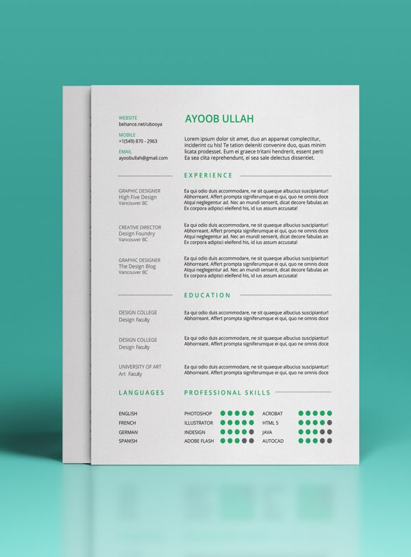 Free Resume Template On Behance Designspiration Creative Resume Templates Beautiful Resume Design Creative Resume Template Free