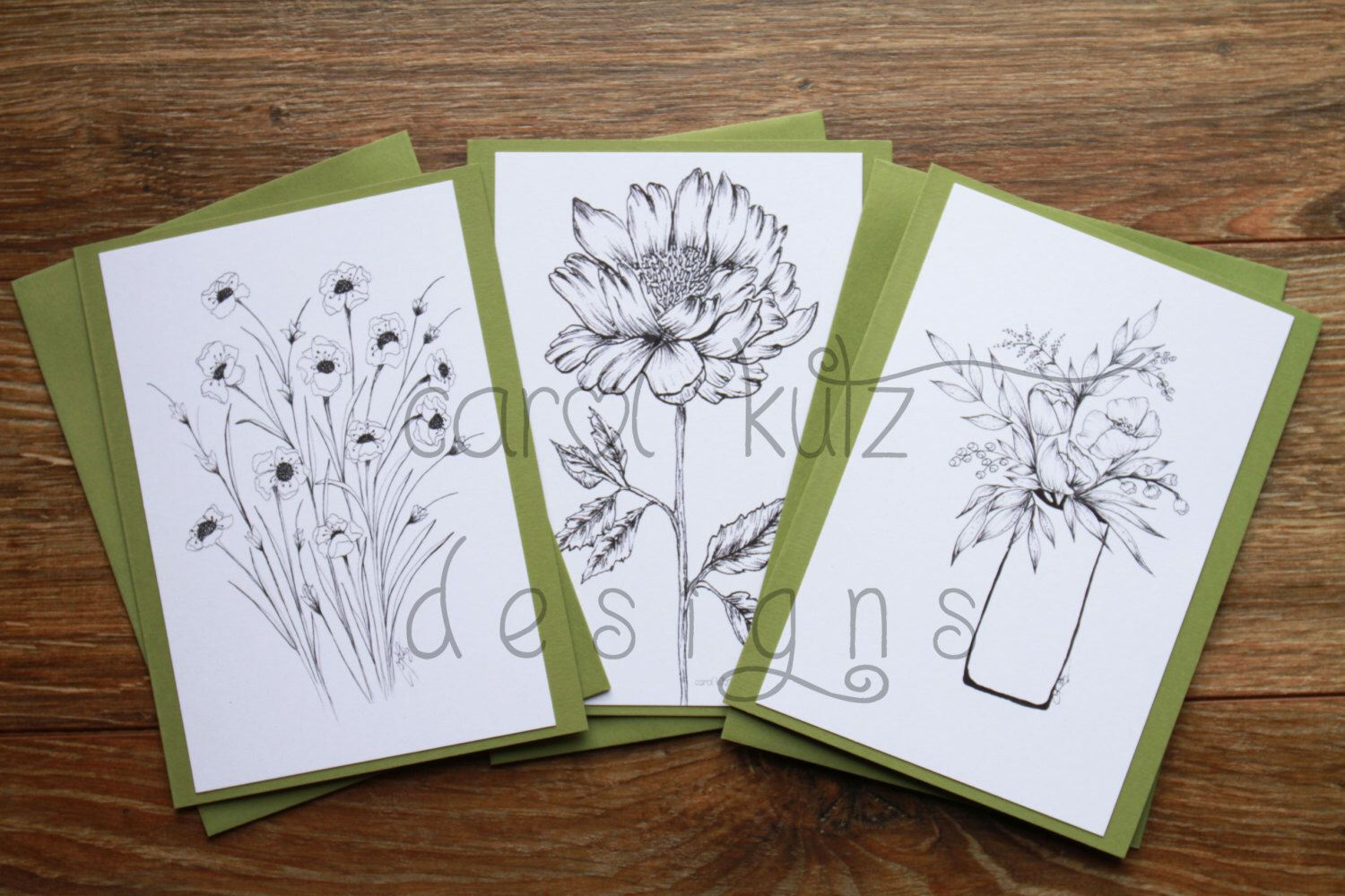 Set Of 6 Coloring Blank A6 Greeting Cards With Envelopes Etsy Original Ink Drawing Original Ink Drawing Prints