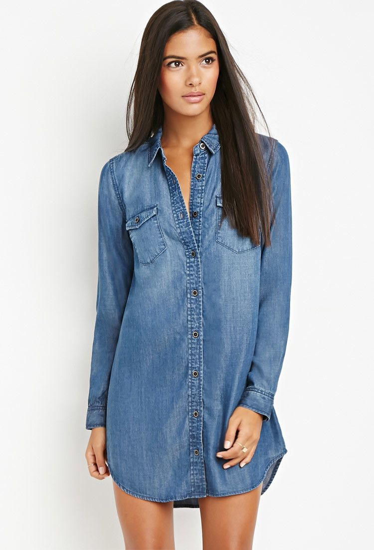 Flappocket chambray shirt dress forever easy
