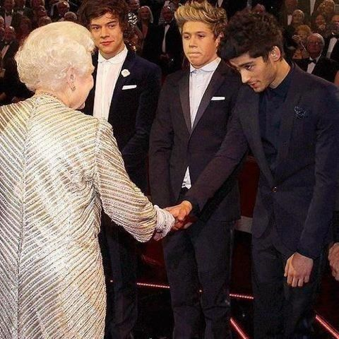 Hahaha funny how when they meet the queen they're suddenly good boys xD