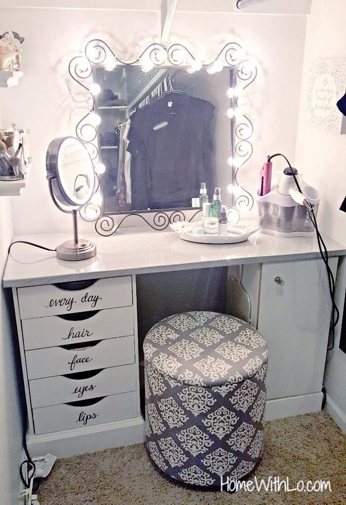 How To Make Your Own Makeup Vanity Step By Step Tutorial Available At Homewithlo Com Bedroom Vanity Vanity Decor Beauty Room