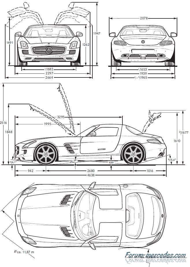 Sls Dimensions Mercedes Benz Germany Amg Car Design Sketch
