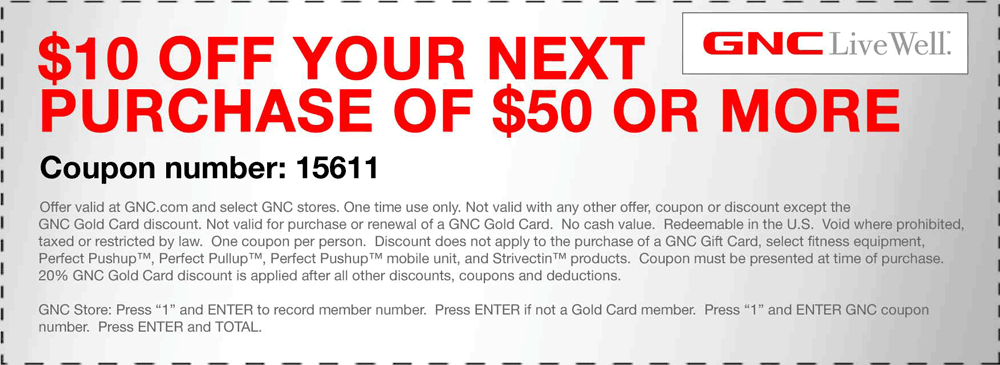 graphic relating to Gnc Printable Coupons 10 Off 50 named Pinned+November+11th:+$10+off+$50+at+GNC+dietary+or+