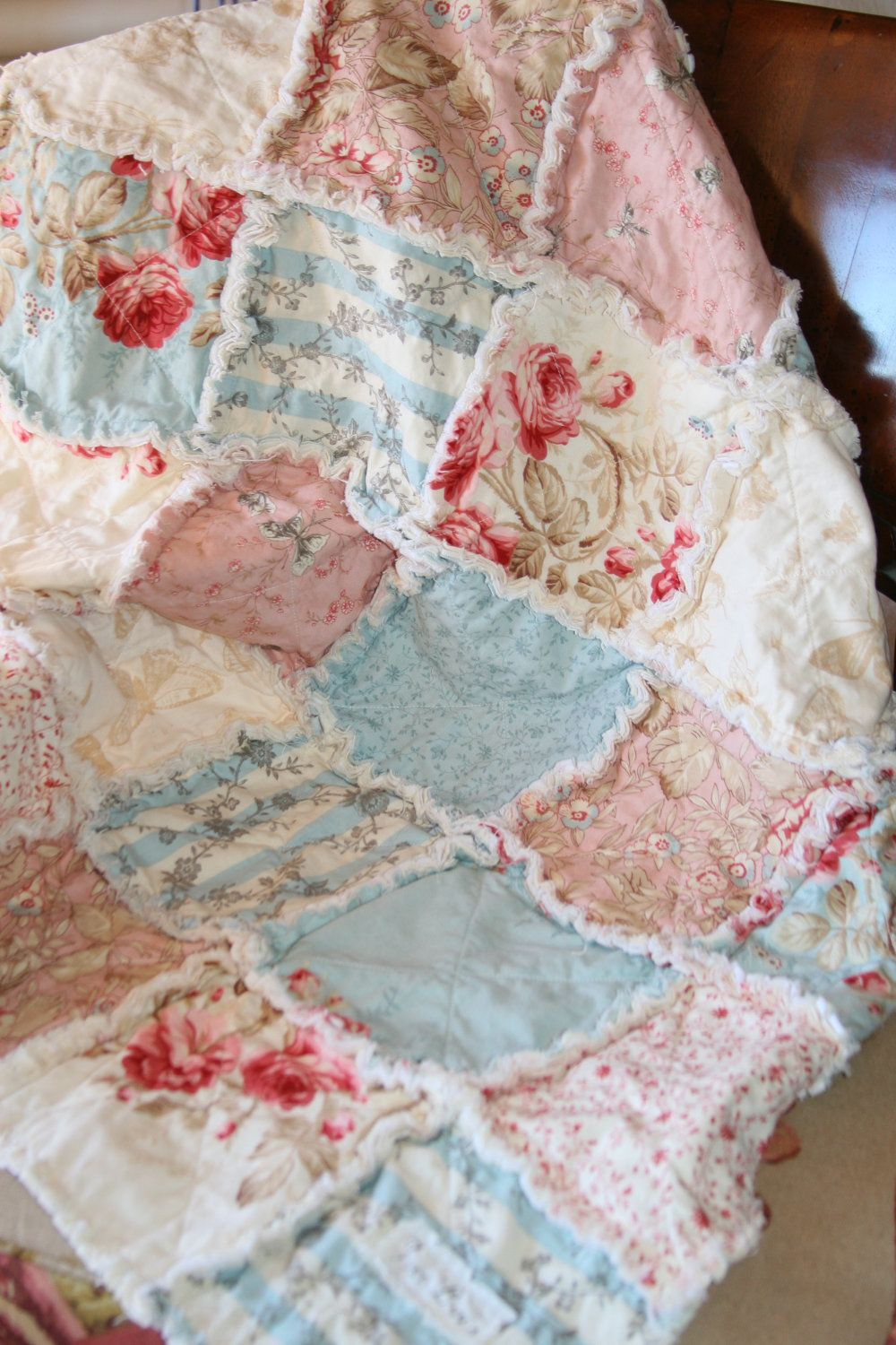 Baby Girl Rag Quilt Shabby Chic French Country Random