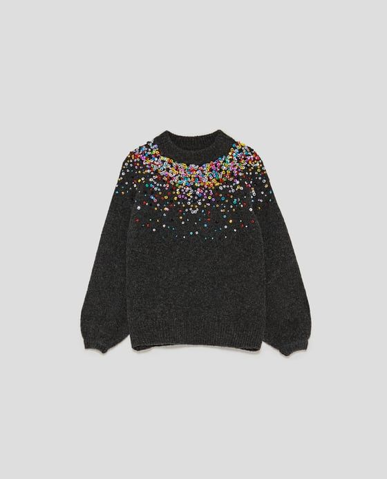 Imagen Crochet amp; Lentejuelas 6 Jersey Knit Zara De Color En wW7wPgxTaq